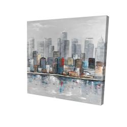 Canvas 24 x 24 - 3D - Abstract city skyline