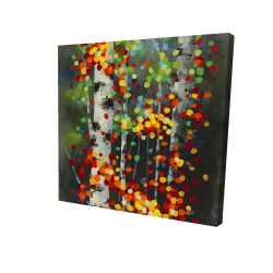 Canvas 24 x 24 - 3D - Colorful dotted leaves birches