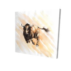 Canvas 24 x 24 - 3D - Bull running watercolor