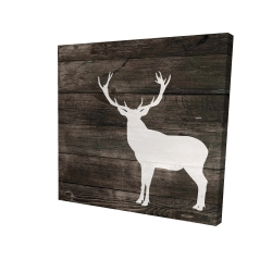 Canvas 24 x 24 - 3D - Deer silhouette on wood