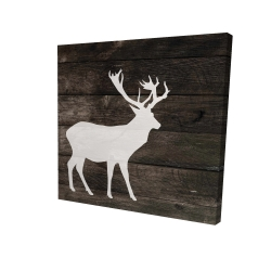 Canvas 24 x 24 - 3D - Deer on wood background