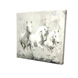 Canvas 24 x 24 - 3D - Three white horses running