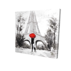 Canvas 24 x 24 - 3D - Woman with her child in front of the eiffel tower