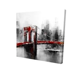 Canvas 24 x 24 - 3D - Abstract and red brooklyn bridge