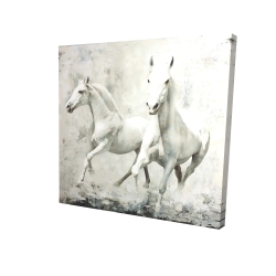 Canvas 24 x 24 - 3D - Two white horse running