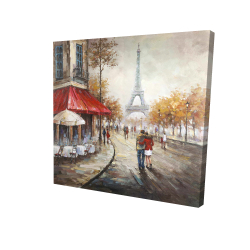 Couple walking in paris street