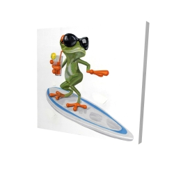 Canvas 24 x 24 - 3D - Funny frog surfing