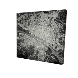 Canvas 24 x 24 - 3D - Airplane satellite view