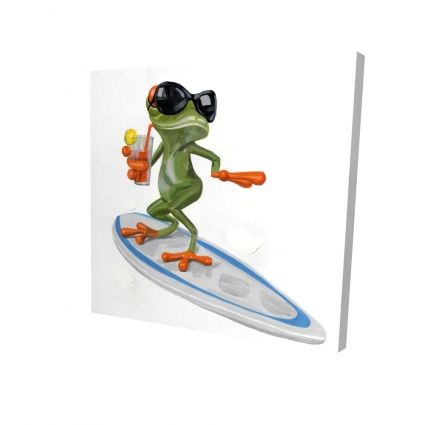 Funny frog surfing