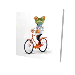 Canvas 24 x 24 - 3D - Funny frog riding a bike