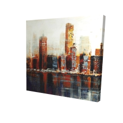 Canvas 24 x 24 - 3D - Abstract red cityscape