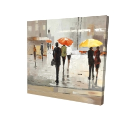 Canvas 24 x 24 - 3D - Abstract passersby with umbrellas