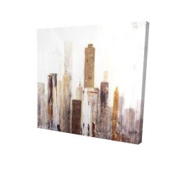 Canvas 24 x 24 - 3D - Abstract earthy tones city