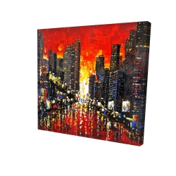 Canvas 24 x 24 - 3D - Abstract sunset on the city