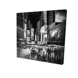Canvas 24 x 24 - 3D - Gray busy city by night
