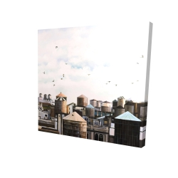 Canvas 24 x 24 - 3D - Water towers with birds
