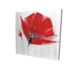 Canvas 36 x 36 - 3D - Two red flowers on gray background