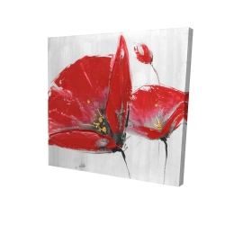 Canvas 24 x 24 - 3D - Three red flowers on gray background