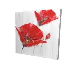 Canvas 24 x 24 - 3D - Three red flowers with golden center