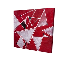 Canvas 24 x 24 - 3D - White triangles on red background