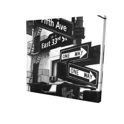 Canvas 24 x 24 - 3D - New york city signs in front of an appartment