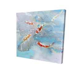 Canvas 24 x 24 - 3D - Koi fish swimming in blue water