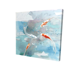 Canvas 24 x 24 - 3D - Koi fish in blue water