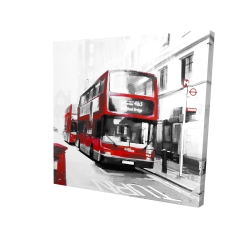 Canvas 24 x 24 - 3D - Red bus in a gray street