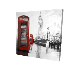 Canvas 24 x 24 - 3D - Red phonebooth with the big ben
