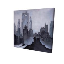 Canvas 24 x 24 - 3D - Illustrative gray city