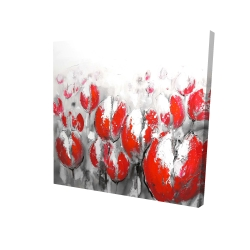 Canvas 24 x 24 - 3D - Abstract red tulips