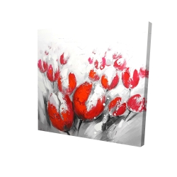 Canvas 24 x 24 - 3D - Red tulips