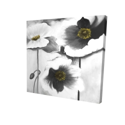 Canvas 24 x 24 - 3D - Black and white flowers