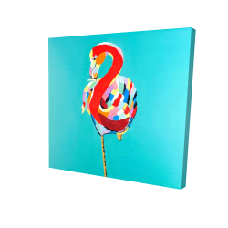 Canvas 24 x 24 - 3D - Colorful flamingo