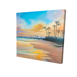 Canvas 24 x 24 - 3D - Sunset by the sea