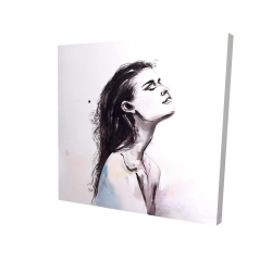 Canvas 24 x 24 - 3D - Watercolor beautiful woman with dark hair