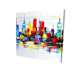 Canvas 24 x 24 - 3D - Abstract and colorful city