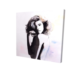Canvas 24 x 24 - 3D - Watercolor beautiful young woman