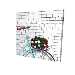 Canvas 24 x 24 - 3D - Bicycle with a bouquet of tulips