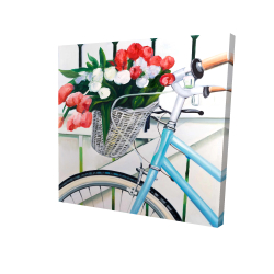 Canvas 24 x 24 - 3D - Bicycle with tulips flowers in basket