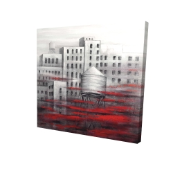 Canvas 24 x 24 - 3D - Gray city with red clouds