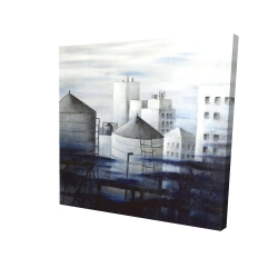 Canvas 24 x 24 - 3D - Gray city with blue clouds