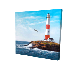 Canvas 24 x 24 - 3D - Lighthouse at the edge of the sea
