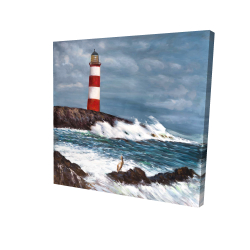Canvas 24 x 24 - 3D - Lighthouse at the edge of the sea unleashed