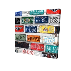 Canvas 24 x 24 - 3D - Number plates