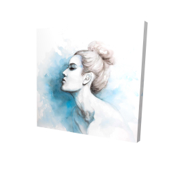 Canvas 24 x 24 - 3D - Watercolor abstract girl profile view