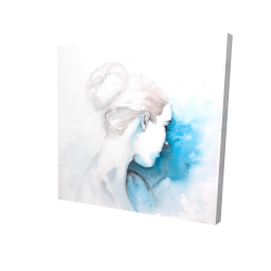 Canvas 24 x 24 - 3D - Watercolor abstract girl with hair bun