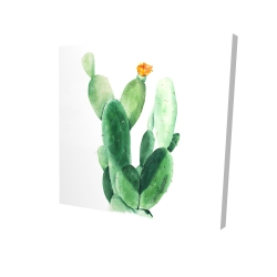 Canvas 24 x 24 - 3D - Watercolor paddle cactus with flower