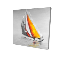 Canvas 24 x 24 - 3D - Two colors sailing boat