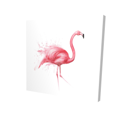 Canvas 24 x 24 - 3D - Pink flamingo watercolor